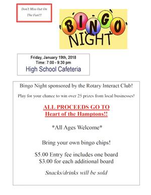 Flyer with details of BINGO Night Fundraiser