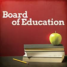 Board of Education Graphic with books and apple