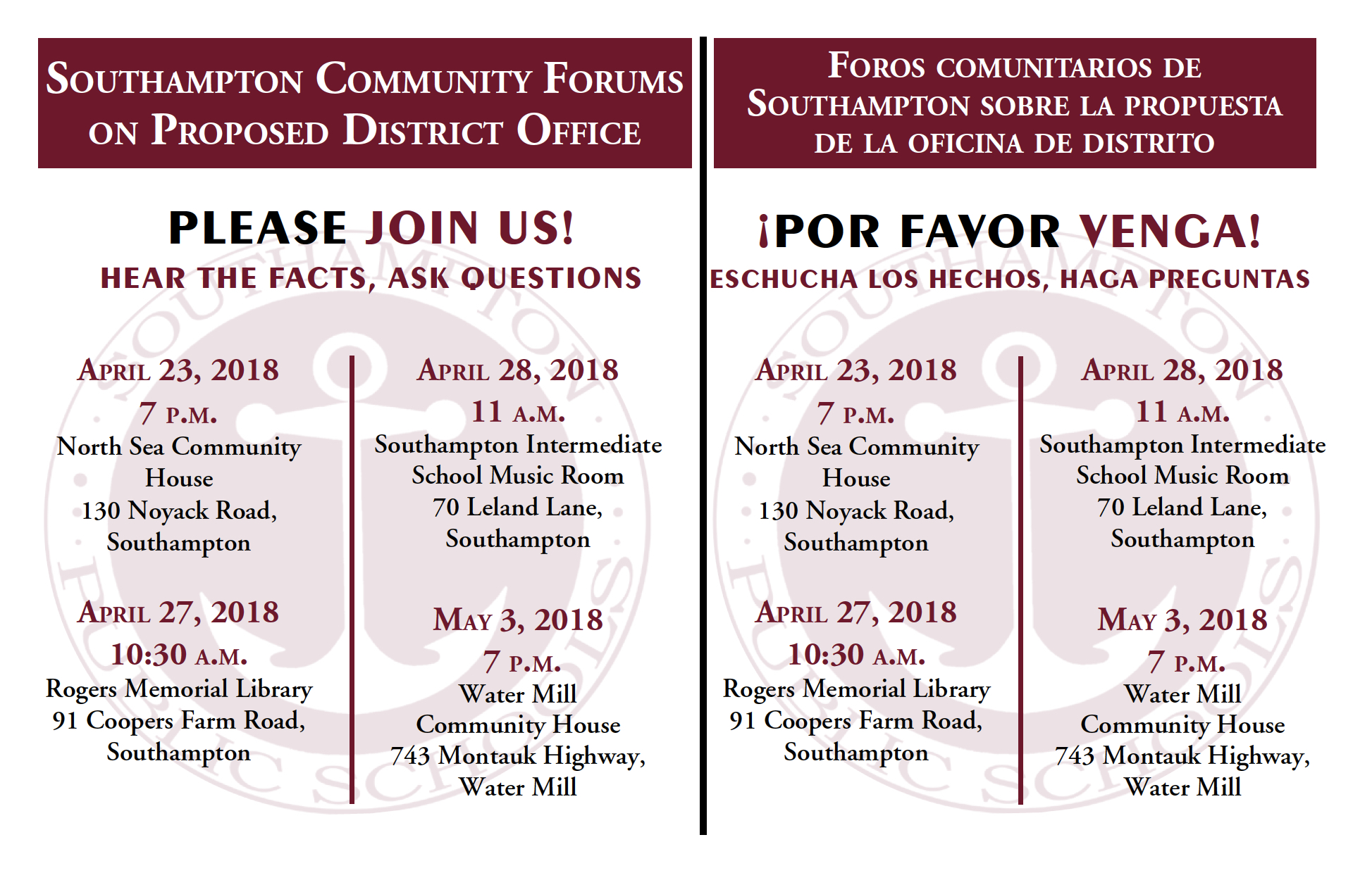 Flyer with dates of Community Forums