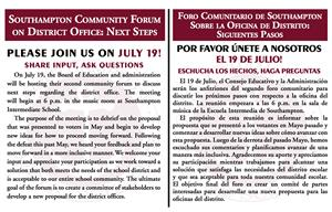 Postcard Invitation to Community Forum on July 19