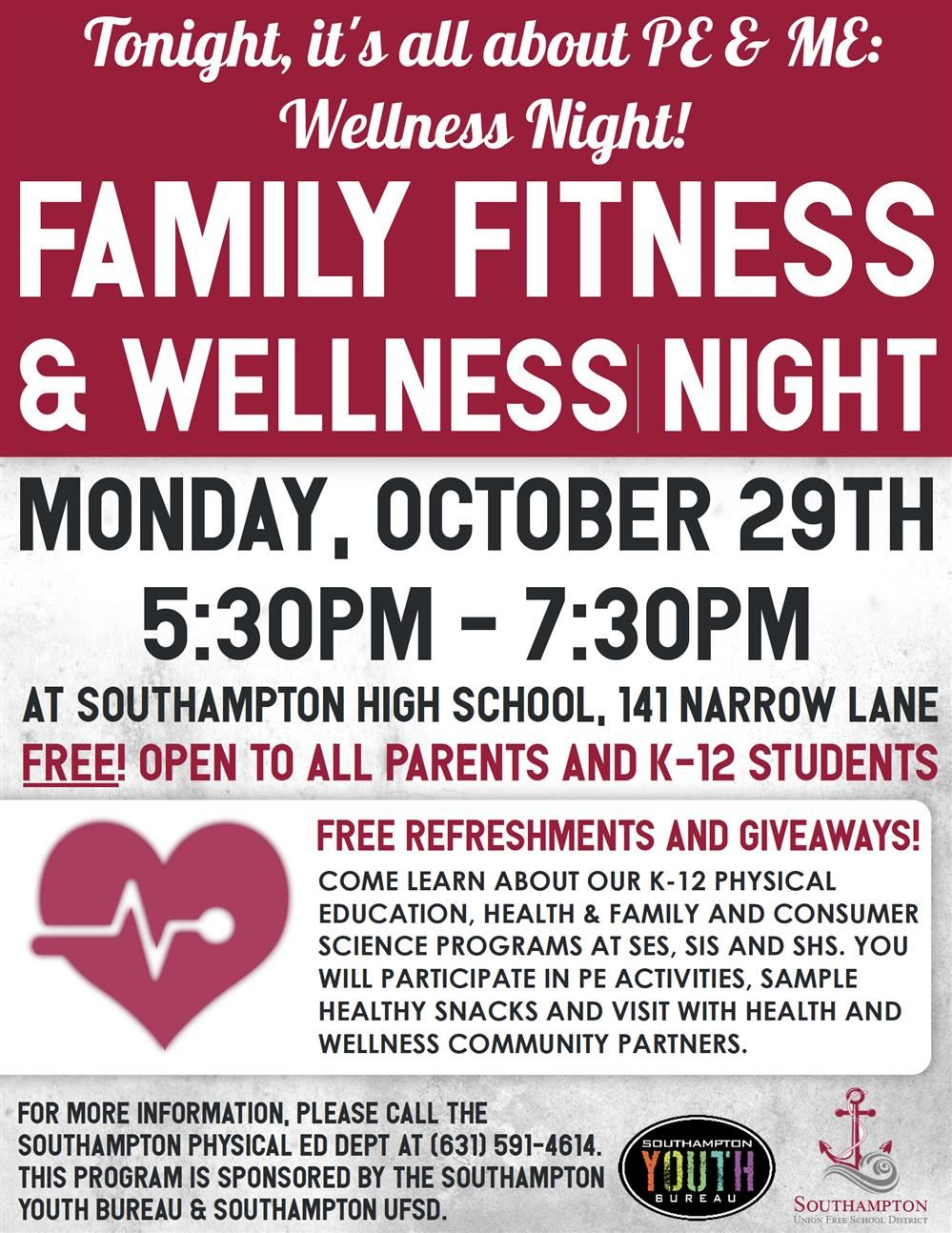 Family Fitness and Wellness Night Flyer
