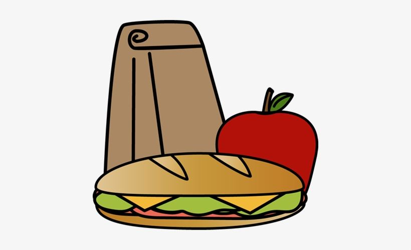 Clipart of lunch bag with sandwich and apple