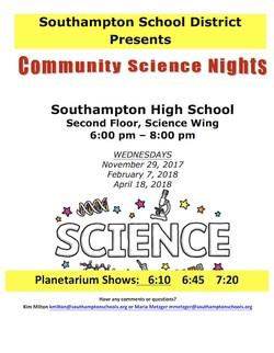 Flyer with the information for Community Science Nights