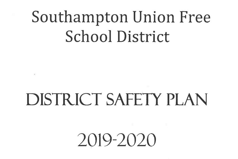 Southampton School District Safety Plan 2019-2020