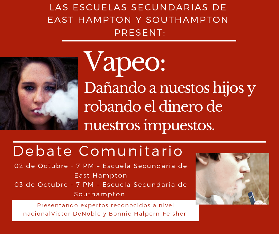 Vaping: harming our kids & stealing our tax dollars town hall, October 3, 7 pm SHS