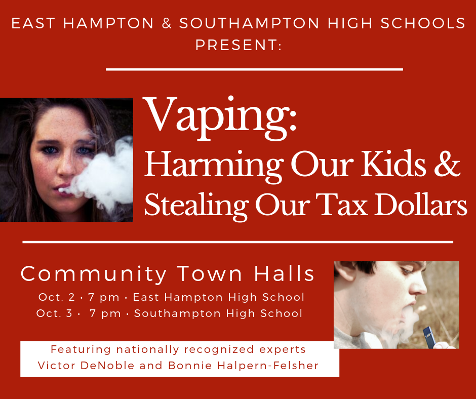 Vaping: harming our kids & stealing our tax dollars October 3, 7 pm SHS