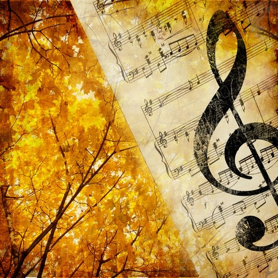 Graphic with autumn leaves and music notes