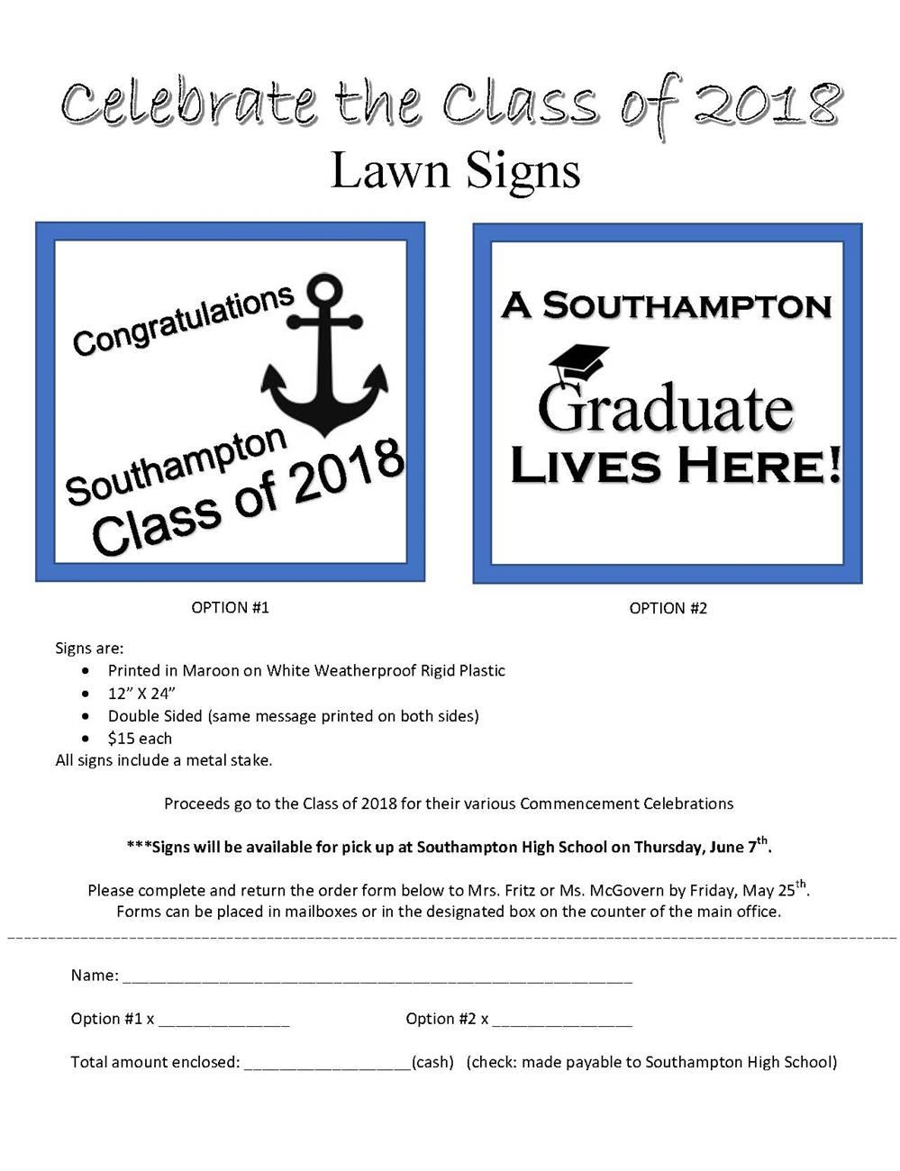 Lawn Signs for Graduates Fundrasier